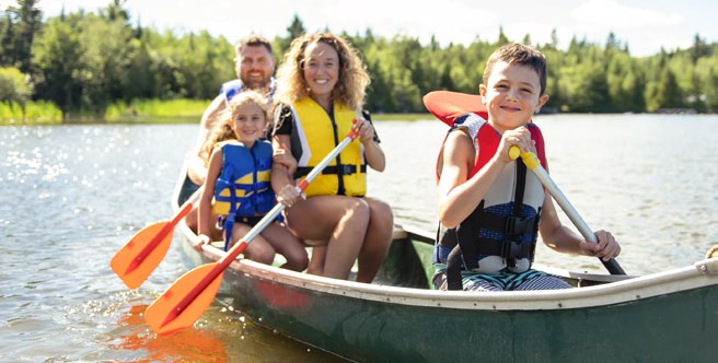 family on a boat rowing on the river