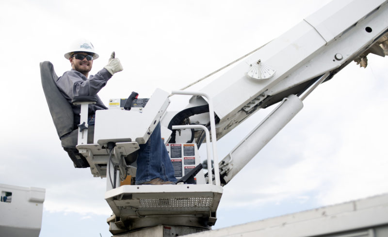 YVEC Lineman on a boom truck