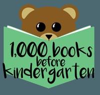 1000 Books before Kindergarten logo with teddy bear reading a book